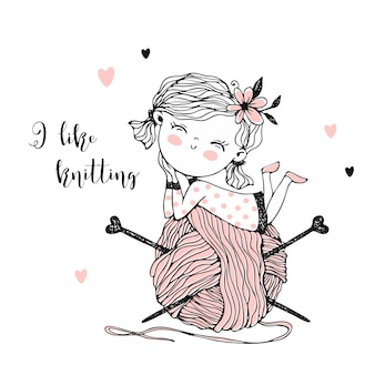 Cute little knitter with a huge skein of yarn.