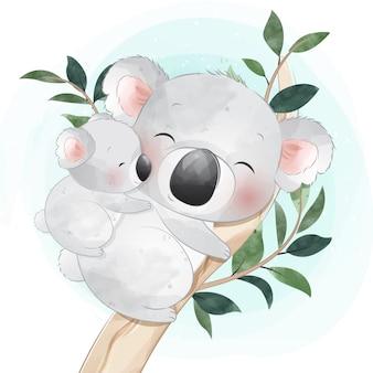 Cute little koala bear mother and baby