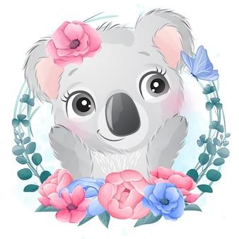 꽃과 귀여운 작은 코알라 곰 초상화