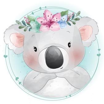 Милый маленький медведь коала с цветочным портретом
