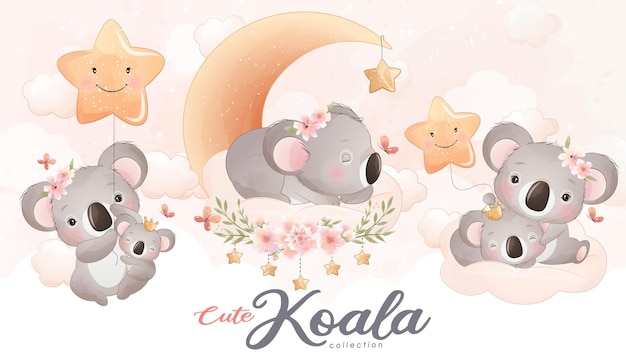 Cute little koala with watercolor illustration set