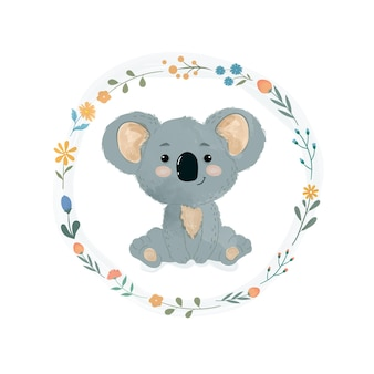 Simpatico koala in una ghirlanda di fiori