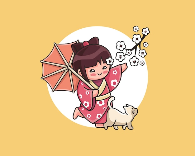 Cute little kokeshi doll with pet illustration