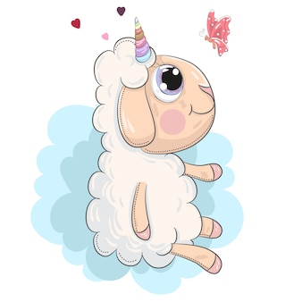 Cute little lamb unicorn sitting cartoon hand drawn