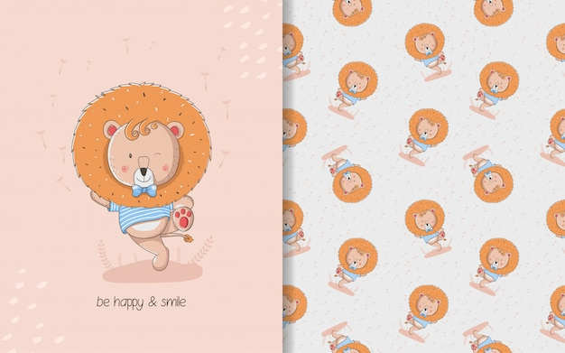 Cute little lion card and seamless pattern. kids illustration
