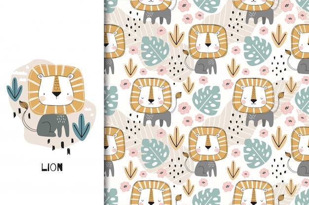 Cute little lion cartoon character. card and seamless pattern set. hand drawn kids textile design illustration.