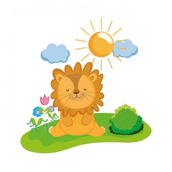 Cute and little lion character