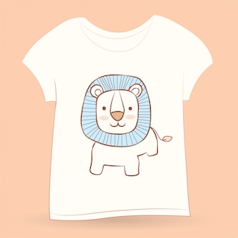 Cute little lion hand drawn for t shirt