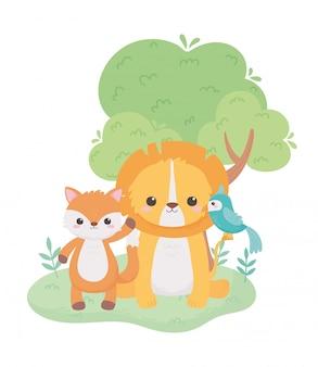 자연 풍경에 귀여운 작은 사자 앵무새와 여우 만화 동물