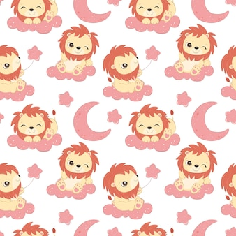 Cute little lion seamless pattern for children fabric wallpaper and many more