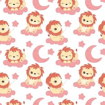 어린이 패브릭 벽지 등을 위한 귀여운 작은 사자 원활한 패턴