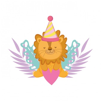 Cute and little lion with party hat and garden