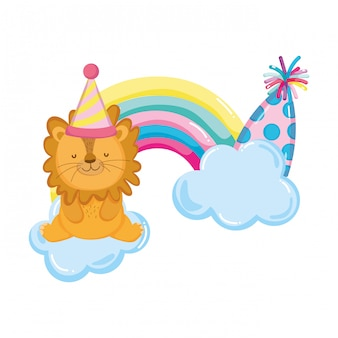 Cute and little lion with party hat and rainbow