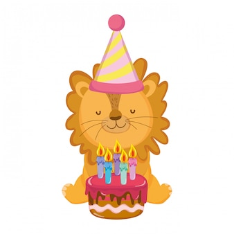 Cute and little lion with party hat and sweet cake