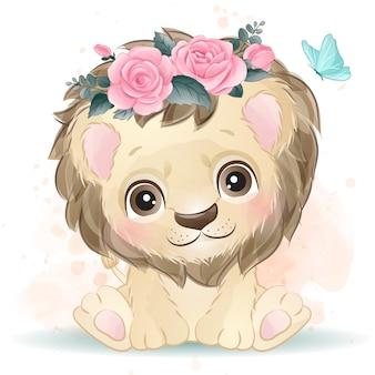 수채화 효과와 귀여운 작은 사자