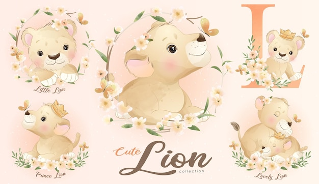 Cute little lion with watercolor illustration set
