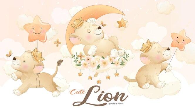 Piccolo leone sveglio con l'insieme dell'illustrazione dell'acquerello