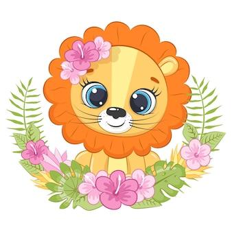 ハワイの花の花輪とかわいい小さなライオン漫画