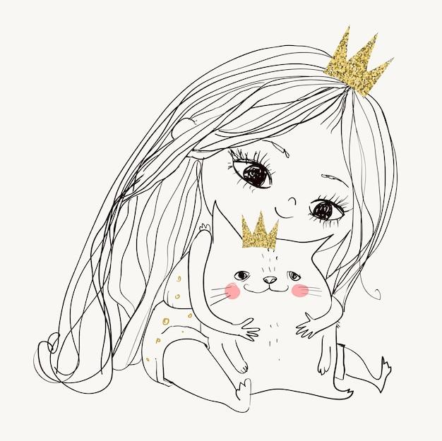 Cute little lovely princess girl with kitten
