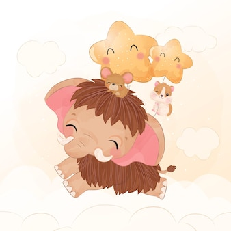 Cute little mammoth flying together with mice and hamster