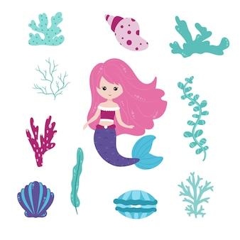 Милая русалочка и подводный мир. набор милый вектор. русалочки и элементы морского мира, водоросли, кораллы, ракушки, жемчуг, растения. мифическая морская коллекция. мультяшный стиль.