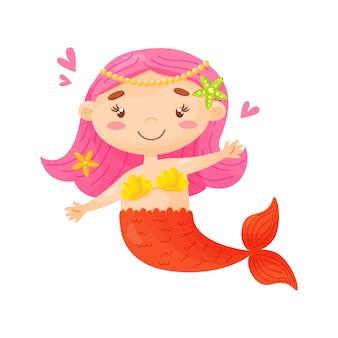 Милая маленькая русалка иллюстрации шаржа