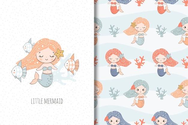 Cute little mermaid illustration and seamless pattern