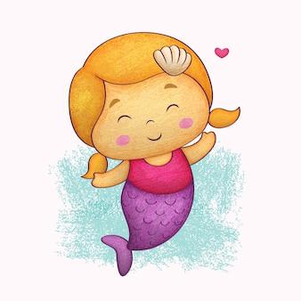 Милая маленькая русалка. в стиле цветных карандашей.