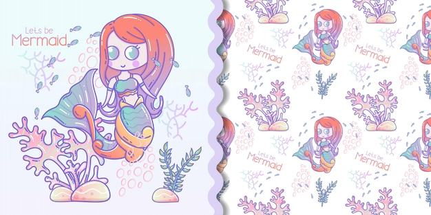 Cute little mermaid and marine life cartoon with seamless pattern set