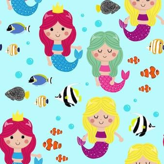 Cute little mermaid seamless pattern