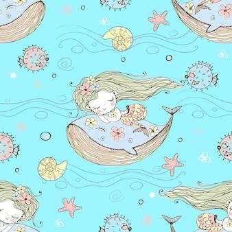 고래 위에서 자고 있는 귀여운 인어공주. 벡터.
