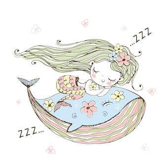Cute little mermaid sleeping on a whale.