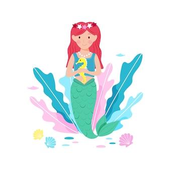 물속에서 수영하는 귀여운 인어공주. 만화 스타일로 손으로 그린 귀여운 행복한 사이렌
