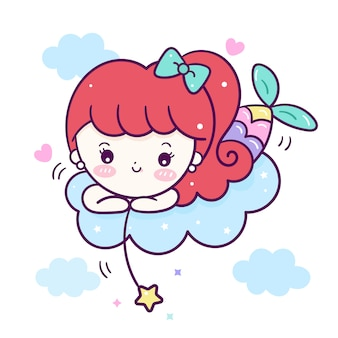 Cute little mermaid vector on cloud