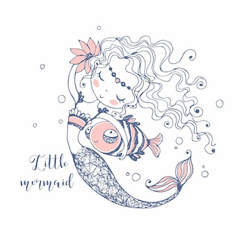 Cute little mermaid with a fish . doodle style.