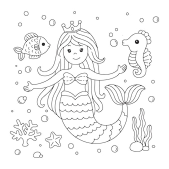 Cute little mermaid with fish and seahorse coloring page