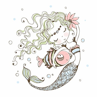 Cute little mermaid with a fish