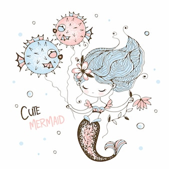 Cute little mermaid with funny fish-hedgehogs.