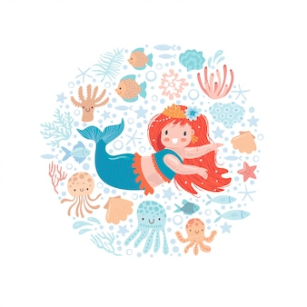 Cute little mermaid with little fish and other sea inhabitants