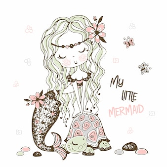 A cute little mermaid with a turtle. doodle style.