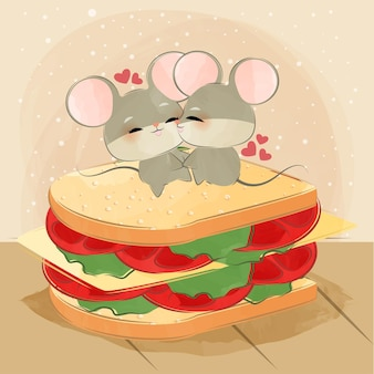 Cute little mice jumping on a sandwich