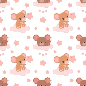 Cute little mice seamless pattern for children fabric wallpaper and many more