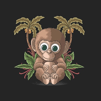 열 대 해변 그림에서 귀여운 작은 원숭이