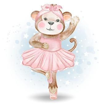 かわいい小さな猿バレリーナ水彩イラスト