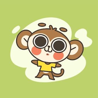 かわいい小さな猿の男の子のマスコット落書きイラスト
