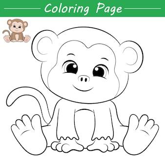 귀여운 작은 원숭이 색칠 페이지 그림 프리미엄 벡터