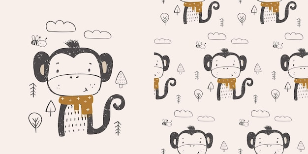 Cute little monkey in the forest with scarf hand drawn color characterscandinavian illustration