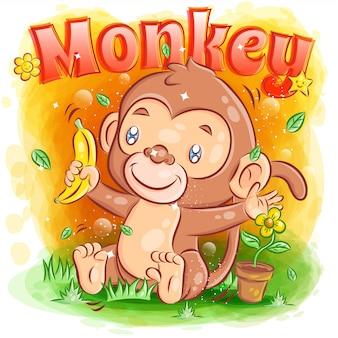 귀여운 작은 원숭이가 바나나를 들고 행복해