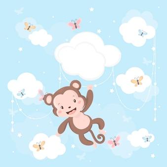 구름에 귀여운 작은 원숭이.
