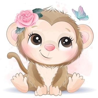 Cute little monkey with watercolor effect